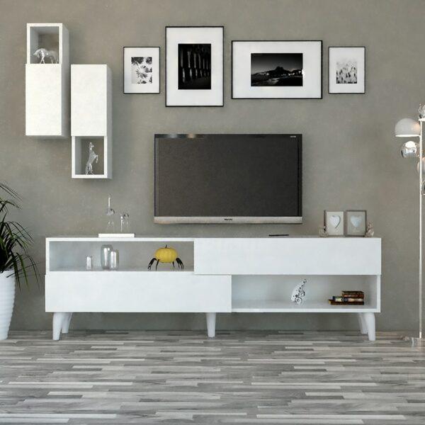 طاولة تلفزيون مودرن لون أبيض 02