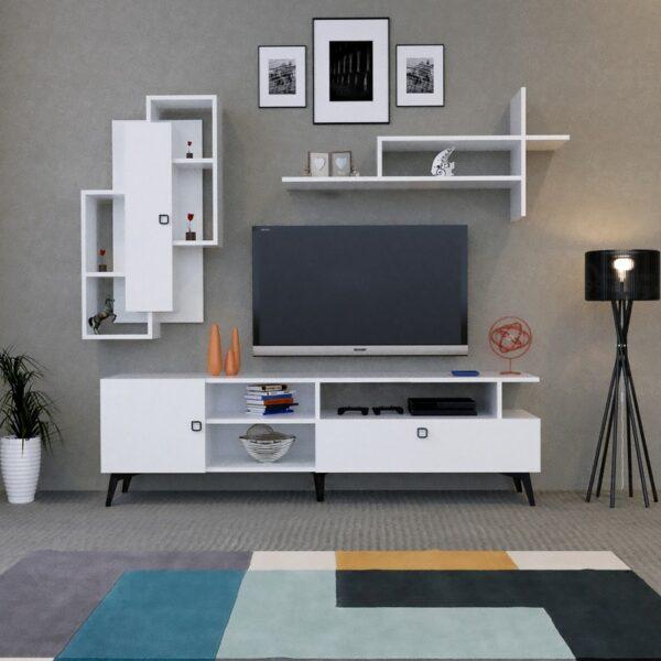 طاولة تلفزيون مع رفوف لون أبيض 16