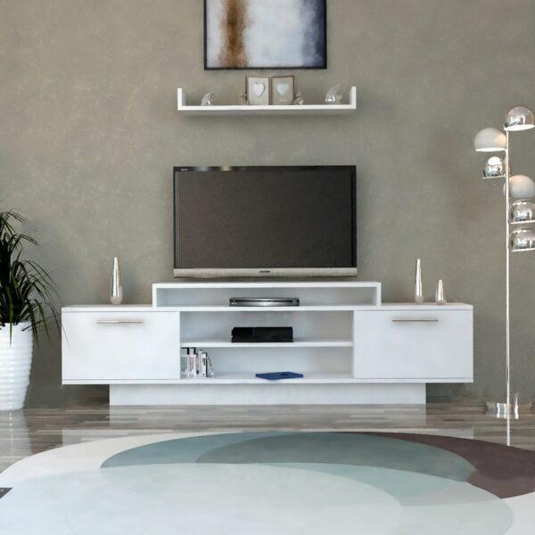 طاولة تلفزيون تصميم تركي لون أبيض 22