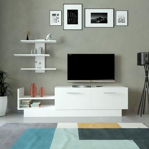 طاولة تلفزيون بلازما لون أبيض 50