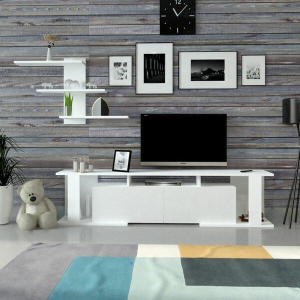 مكتبة تلفزيون حديثة تصميم تركي لون أبيض 49