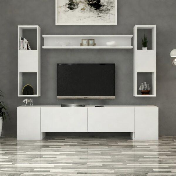 مكتبة تلفزيون حديثة لون أبيض 48