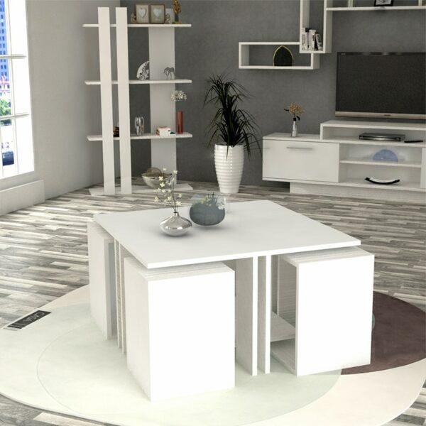 طقم طاولات لون أبيض 0115