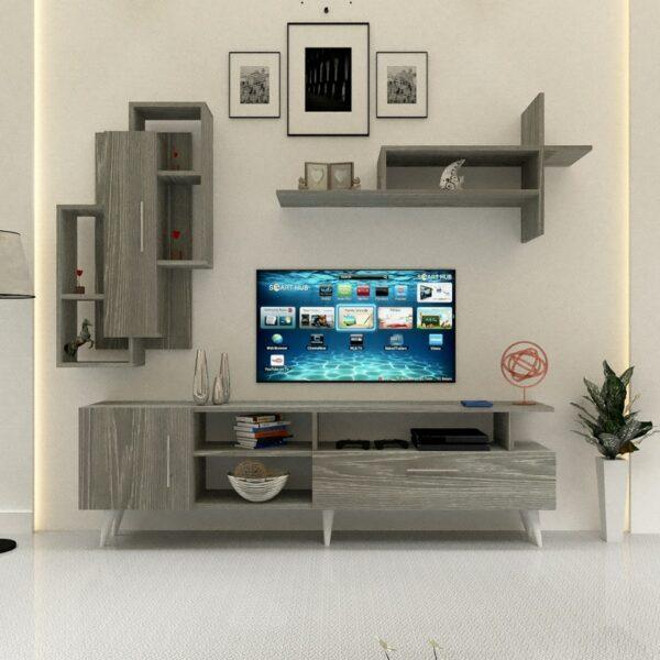 طاولة تلفزيون مع رفوف لون رمادي 83