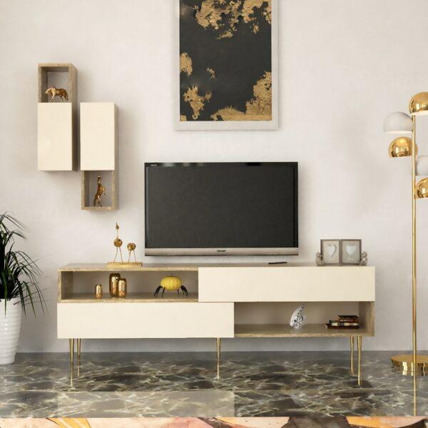 طاولة تلفزيون لون بيج مع خشبي 74