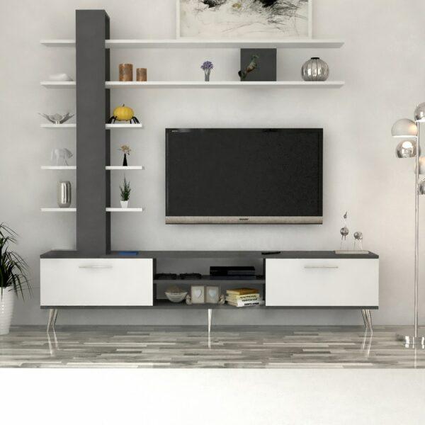 مكتبة تلفزيون لون أبيض مع رمادي 78