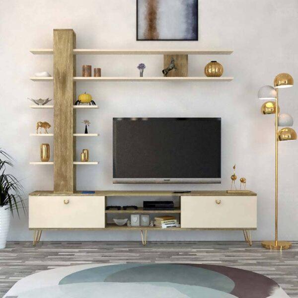 مكتبة تلفزيون لون بيج مع خشبي 79