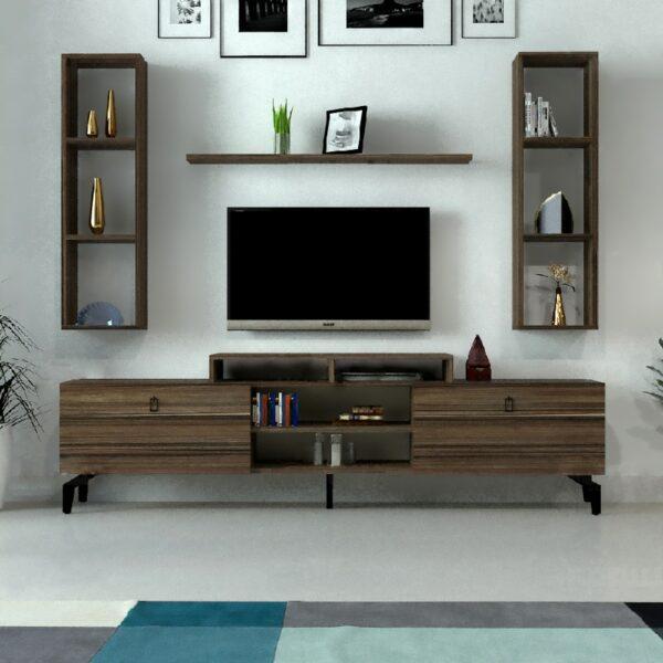 طاولة تلفزيون مع رفوف لون بني 82