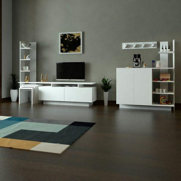 طقم طاولات لون أبيض 0124