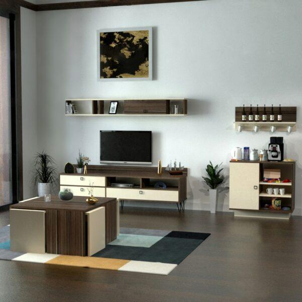 طقم طاولات تلفزيون و قهوة و ركن قهوة لونين 0126