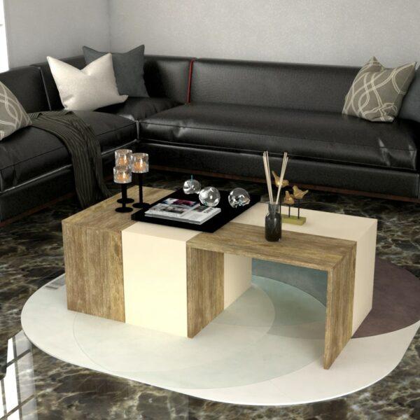 طاولة قهوة 4 قطع بيج مع خشبي 0235