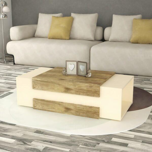 طاولة وسط لون بيج مع خشبي 0237