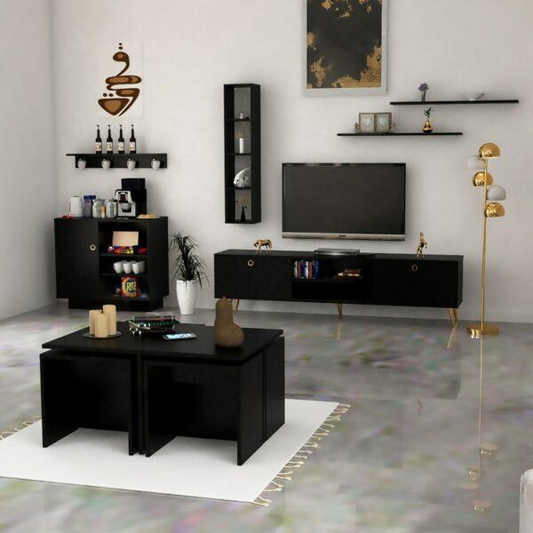 طقم طاولات تصميم عصري لون أسود 0145