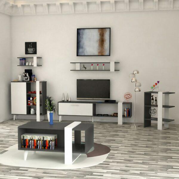 طقم طاولات تصميم تركي لون أبيض مع رمادي 0144
